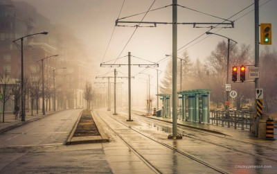 Fog Deserted Street by Nicky Jamesn