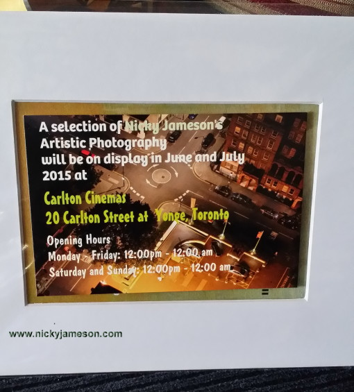 Artistic Photography Art Display by Nicky Jameson, Toronto, June and July 2015