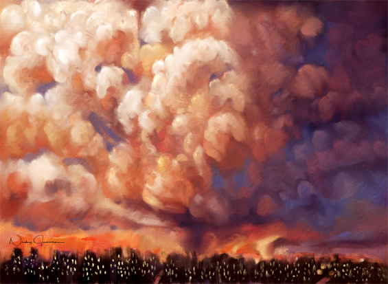 Sunset Clouds Over the City