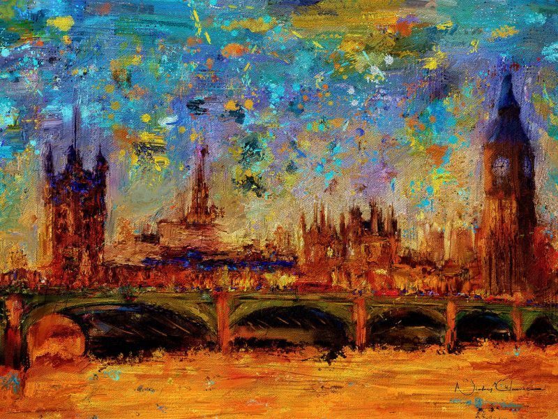 Westminster Bridge and Houses of Parliament Oil on Canvas and Miixed media